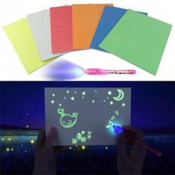 Tablita fosforescenta interactiva, rescriptibila marker UV, lumineaza orange
