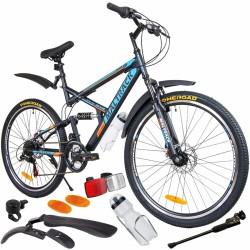 MalTrack Target kerékpár, acél keret, 18 sebességű, 26 hüvelykes kerekek, lengéscsillapítók, tárcsafékek, fekete/kék