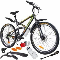 MalTrack Target kerékpár, acél keret, 18 sebességű, 26 hüvelykes kerekek, lengéscsillapítók, tárcsafékek, fekete/zöld