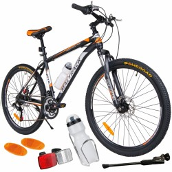 MalTrack Team kerékpár, 18 sebességű, 26 hüvelykes, Shimano sebességváltó, vizes palack, fekete/narancssárga