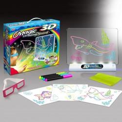 MT MALATEC 3D rajztábla, világító állvány, markerek, 3D szemüveg, sablonok