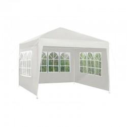 MT MALATEC Fém kerti pavilon, 3x3 M, összecsukható, 3 oldalfalak ablakokkal, fehér