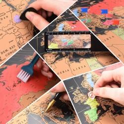 MT MALATEC kaparós világtérkép,  82x59 cm, vonalzó nagyítóval, fénykép-rögzítő tűkkel, matricákkal együtt