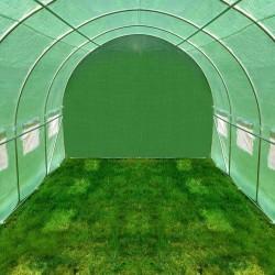 ProCart® kültéri melegház, 2,5x4 m, acélkeret zöld, UV-szűrő fólia, 10 nm, ablakok