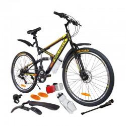 MalTrack Target MB 18 sebességes kerékpár, lengéscsillapítóval, 26 hüvelykes kerekek, hegyi kerékpár, sárga / narancssárga szín