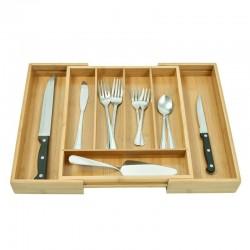 ProCart® Rendszerező evőeszköztartó, bővíthető, bambusz fa, 7 rekesz