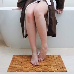 ProCart® Bambusz fürdőszobaszőnyeg, 80x50 cm, csúszásmentes felület, 7 mm vastag, barna