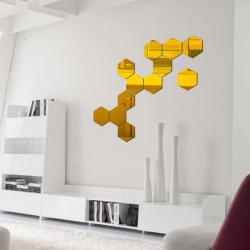 ProCart® dekoratív tükörkészlet, akril, hatszög, öntapadós, 8 darab, aranysárga