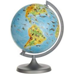Procart ZooGlobe Földgömb, domborzati és zoológiai térkép, átmérője 22 cm, állatos könyv 275 állattal
