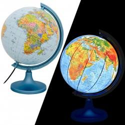 ProCart® Megvilágított földgömb 25 cm, politikai és fizikai térkép, részletes térképészet