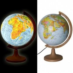 ProCart® Megvilágított földgömb, politikai és fizikai térkép, átmérője 32 cm