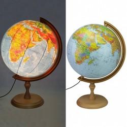 ProCart® Megvilágított földgömb 32 cm, politikai és fizikai térkép, fatartó, időzóna