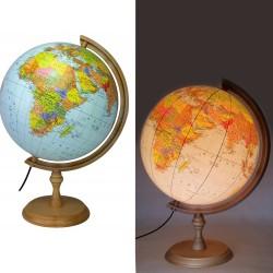 ProCart® Megvilágított földgömb, 32 cm, politikai térkép, időzóna, fatartó