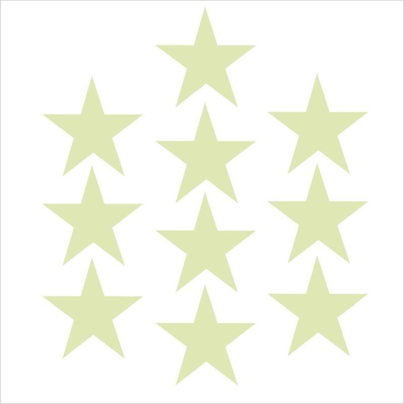 ProCart® Glow foszforeszkáló öntapadós csillag matrica, 10 db készlet, aqua , prémium vinyl, méret 3 cm