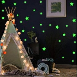 ProCart® dekoratív foszforeszkáló matrica, csillagok, pöttyök, zölden világít, 1-4 cm méretű, 75 db
