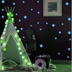 ProCart® dekoratív foszforeszkáló matrica, csillagok, pöttyök, kéken világít, 1-4 cm méretű, 75 db