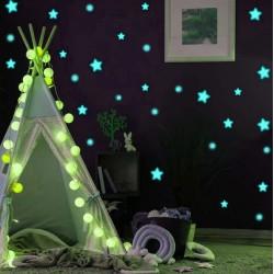 ProCart® dekoratív foszforeszkáló matrica, csillagok, pöttyök, türkizen világít, 1-4 cm méretű, 75 db