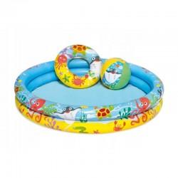 Bestway Felfújható gyermekmedence, átmérője 122 cm, labda, úszó gumi, kapacitása 114l, vidám nyomtatás