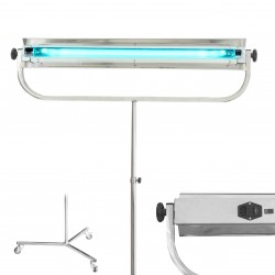 ProCart® UVC baktériumölő lámpa, 55W, rozsdamentes acélból, hordozható, kerekes állvánnyal, Phillips csővel, kapcsolóval