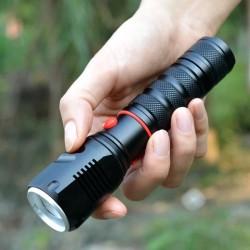 ProCart® CREE LED SMD 10W zseblámpa, állítható zoommal, 2000 lm, 300 m sugara, autós töltő, alumínium, stroboszkóp