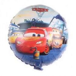 ProCart® McQueen autók léggömb, fémfóliával, kerek alakú 45 cm, többszínű