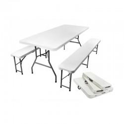 MT MALATEC 2 összecsukható pad és kerti asztal készlet, acél keret, szállítófogantyú, fehér