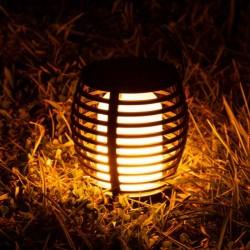 Polux LED dekoratív leszúrható napelemes lámpa, lánghatás, 1700K, magasság 25 cm, IP44, fekete ABS tok