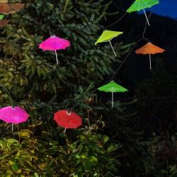 Polux LED napelemes girland esernyők, 1,8 m hosszú, 2 világítási mód, többszínű, IP44