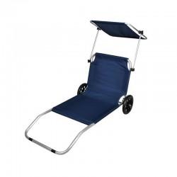 MT MALATEC Összecsukható Napágy, napvédő , hordozható, alumínium keret, fejtámla, 115x62cm, kék