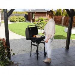 Kaminer faszén grillező, hőmérő, kiegészítő tartó, kerekek, fedél fogantyúval, grill eszközök