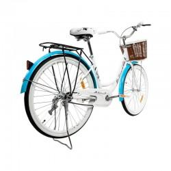 MalTrack Miejski női kerékpár, 26 hüvelyk, elülső kosár, virágmintás