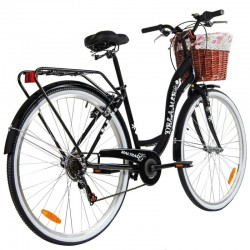 MalTrack Dreamer városi kerékpár, 28 hüvelykes kerekek, 6 sebességes, bevásárlókosár és virágmotívumok, fekete szín