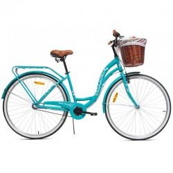 MalTrack Dreamer Női kerékpár, 28 hüvelykes, 18 hüvelykes acélváz, 6 sebesség, rattan kosár, rud nélkül