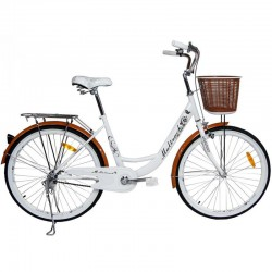 MalTrack Női kerékpár, 26 hüvelykes kerék, 17 '' acél keret, V-Brake fék, ergonómikus ülés, rúd nélkül, bevásárlókosár