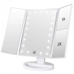 MT MALATEC LED kozmetikai tükör, forgó, állítható világítás, 2x és 3x zoom, USB tápegység és elemek, fehér