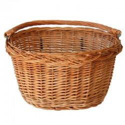 ProCart® Kerékpár kosár, rattan, fém rudak rögzítéshez, kormányra szerelhető, fogantyú, természetes barna