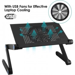 ProCart® Összecsukható laptop asztal, 2500 fordulat/perc hűtő, USB, egértartó, alumínium, állítható magasságú