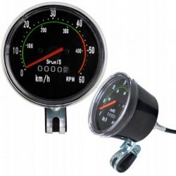 ProCart® Mechanikus kerékpár vezetékes sebességmérő, analóg visszaállító sebességmérő, kábel 86 cm