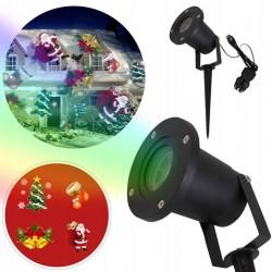 LVT LED projektor, 4 karácsonyi figura, kültéri IP44-hez, állítható szöggel, Mikulás-vetítés, karácsonyfa, harangok