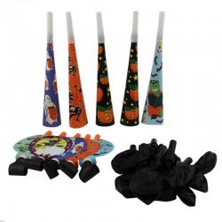ProCart® Halloween party szett, 37 darab, sisak, fúvó, lufi, koszorú, sokszínű
