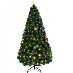 ProCart® műfenyő, száloptikával és LED-ekkel megvilágítva, 210 cm, többszínű