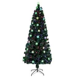 ProCart® műfenyő, száloptika és hópelyhek, csillag a tetején, magasság 210 cm