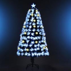 ProCart® műfenyő, száloptikával és LED-es világítással ellátott hópelyhekkel, 180 cm, csillaghegy