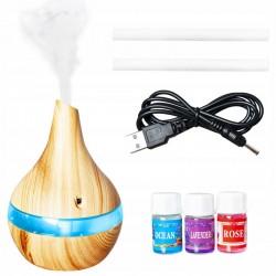MT MALATEC Aromaterápiás diffúzor 300ml, USB újratölthető párásító, 7 színű LED világítás, illatos olajok, érintőgomb, natúr
