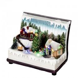 Home Karácsonyi jelenet dekoráció, nyitott könyv alakú, forgó karácsonyfa, zene, LED világítás
