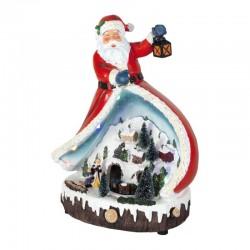 Home Karácsonyi dekoráció Mikulás és körbejáró kisvonattal, LED-es világítás, 31 cm