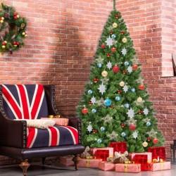 ProCart® Karácsonyi műfenyő, lucfenyő 180 cm, sötétzöld ág, hegyes végek, tartó