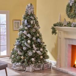 ProCart® Karácsonyi műfenyő, 240 cm kasmírfenyő, finom ágak fehér hegyekkel, zöld tartóval