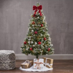 ProCart® Karácsonyi műfenyő, kasmírfenyő 150 cm, hófehér hegyek, tartóval