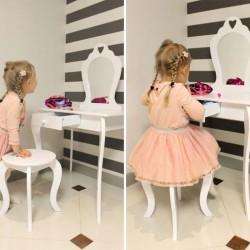 ProCart® toalett asztal és szék készlet, lányoknak, tükör, fiók, fehér fa, vintage kivitelben, 108x71x39.5 cm